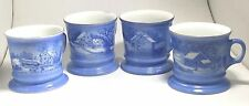 Currier & Ives Vtg The Old Homestead blue coffee mug cocoa cups tea set of 4