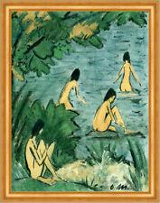 Landschaft mit Badenden Akt See um 1915Expressionismus Otto Mueller A2 Gold 17