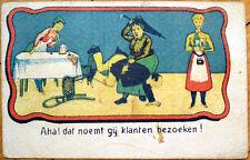 1903 Postcard: Old Woman Spanking Cheating Husband w/Umbrella