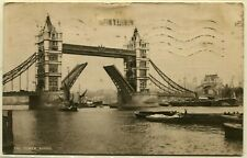 GREAT BRITAIN to GERMANY The Tower Bridge Postcard Stamps Postage Used 1928