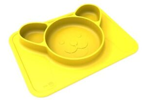 NEW Animat Silicone Non-Slip Baby One-Piece Bowl / Plate / Placemat - Yellow