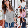 Knitted Slim Jumper Blouse Tops Long Sleeve Sweater Women's V Neck Fit Sexy Wrap