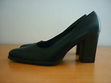 WOMEN'S NINE WEST NORRELL BLACK LEATHER HEEL COURT SHOES SIZE 9M MADE IN BRAZIL