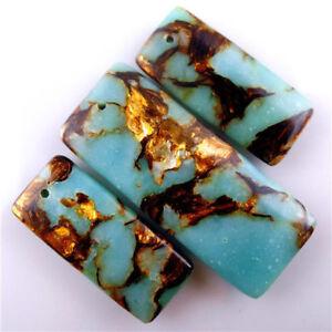 3pcs/lot Turquoise & Gold Copper Bornite stone oblong Pendant Bead 48*18*6mm diy