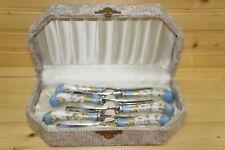 A E Lewis and Co. Floraine Blue Porcelain Handle 6 Butter Knives In Box-Vintage