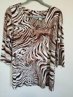 Chicos Women's Lightweight Animal Print V-neck Blouse | Size 2 | Made in USA