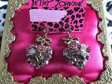 Betsey Johnson Vintage Rose Gold Pink Crystal Hematite Heart Jewel Bow Earrings