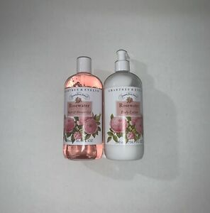 Crabtree & Evelyn ROSE WATER Body Lotion W/ Pump & Shower Gel SET 16.9 Fl OZ