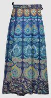 Mandala Wrap Around Boho Hippie Long Maxi Cotton Naphthol Skirt Diwali Blue