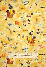Timeless Treasures Pirate Kids Ship Sail Map Island 1354 Toss Cotton Fabric YARD