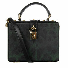 DOLCE & GABBANA Studded Canvas Clutch Bag DOLCE BOX Leopard Black Green 08277