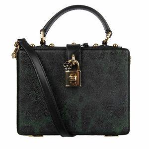 DOLCE & GABBANA Studded Canvas Clutch Bag DOLCE BOX Leopard Black Green 08277