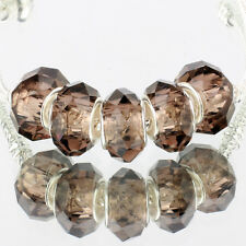 Crystal gray 5pcs MURANO glass bead LAMPWORK suit European Charm Bracelet