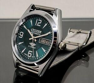 citizen automatico da uomo giorno d'acciaio/data vintage polso orologio
