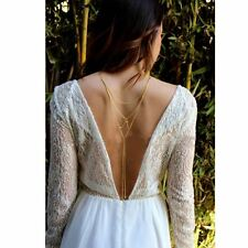 Bridal Harness Crystal Layers Backless Back Tassel Body Chain Wedding Necklace