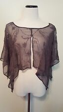 Sheer Gray Swimwear Cover Up Embroidered