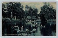 Richmond IN, Boating On Lake, Glen Miller Park, Vintage Indiana Postcard