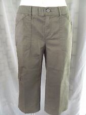 Women's Additions by Chico's Olive Green Khaki Chino Cargo Crop Capri Pants - 0