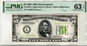 Fr.1955-L 1934 $5 San Francisco Federal Reserve Note Light Green Seal PMG 64EPQ