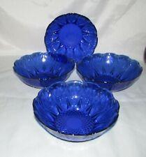 """Set of 4 Avon Royal Sapphire Cobalt Blue Glass Dessert Bowls 6-1/4"""""""