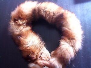 Fuchs Schal Kragen mit Kopf Echt Pelz leicht und warm  Farbe: rot/braun L: 120cm