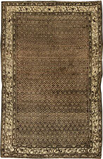 Malayer Chocolate Brown and Sandy Beige Handcrafted Rug BB6417