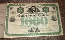 State of South Carolina Unissued Share Certificate $1000