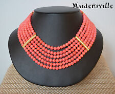Glam Coral Necklace with Rhinestone Multi-strand Wedding Party Necklace 6 Rows