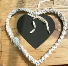 White Wicker Heart With Chalk Board