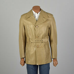 S 1970s Mens Coat Beige Tan Leather Belted Trench Bohemian Hippie Jacket 70s VTG