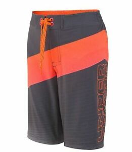 Under Armour Boys Vibron Elastic Board Shorts, Jet Grey, Youths XL