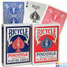 BICYCLE PINOCHLE PLAYING CARDS DECK MADE IN USA RED BLUE STANDARD INDEX USPCC