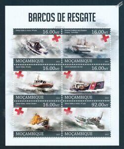 Lifeboats & Coast Guard Sea Rescue Boats Ship Stamp Sheet #1 (2013 Mozambique)