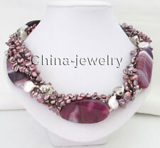 "19""5row 7-15mm purple baroque keshi reborn freshwater pearl &50mm agate necklace"