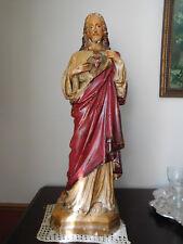 "Beautiful Large 22"" Antique Jesus Christ Sacred Heart Chalkware Plaster Statue"