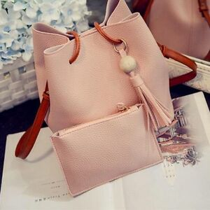 2021 Women Fashion Pink PU Tote Crossbody Satchel Shoulder Handbag Bag