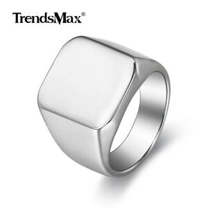 Size 8 Smooth Signet Ring for Men 18mm Male Band 316L Stainless Steel Silver