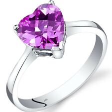 14k White Gold Created Pink Sapphire Heart Solitaire Ring 2.50 Carat Size 7