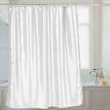 """Carnation Home """"Shimmer"""" Faux Silk Shower Curtain in White"""
