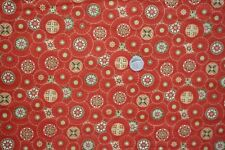 Circles on Brown/Orange KITTY KIMONO Fabric 1 metre Benartex 2761-78 100% Cotton