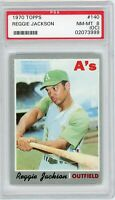 Reggie Jackson 1970 Topps #140 Oakland Athletics Vintage Baseball Card PSA 8 OC
