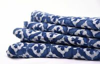 5 Yard Hand Block Print Indigo Blue Dabu Print Cotton Ikat Fabric Vegetable Dye