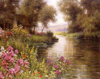 CHENPAT880  charmed flowers river landscape hand  oil painting art on canvas