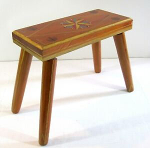 Country Primitive Handmade Hand Painted Solid Maple Bench/Stool Reading Railroad
