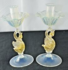 "PAIR ANTIQUE VENETIAN MURANO SALVIATI OPALESCENT ART GLASS  9"" SWAN CANDLESTICK"