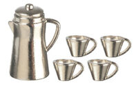 Silver Coffee Set, Dolls House Miniature, Dining Accessory 1.12th Scale