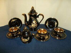 10 Pcs. Vintage Onur Porcelain Tea Set Black & Heavy Gold Turkey
