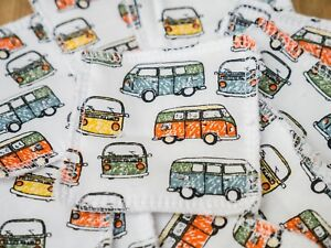Reusable Make Up Remover Wipes Pads X 10 100% Cotton VW Camper Vans Retro Eco