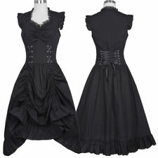 Women Black V-Neck Drawstrings Waist Dress Vintage 50s Gothic Victorian Dresses
