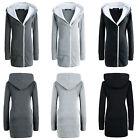 NEW Womens Ladies Long Zip Tops Fur Hoodie Jacket Coat Outwear Hooded Sweatshirt